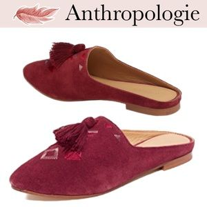 Anthropologie Soludos Palazzo Tassle Mules Wine